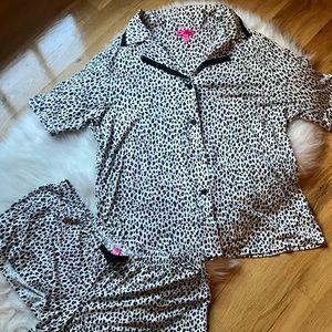 Betsey Johnson Pink Black Leopard Pajama Set